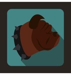 Bulldog dog icon flat style vector image