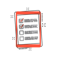 cartoon checklist with tablet icon in comic style vector image