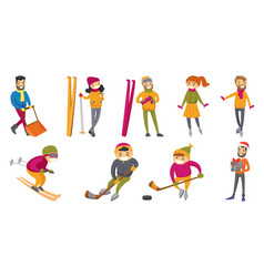 Caucasian white people playing winter sports set vector