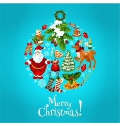 Christmas round bauble ball for xmas card design vector image