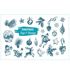 christmas toys hand drawn icons set vector image