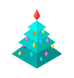 christmas tree isometric style christmas and new vector image