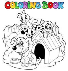 coloring book with domestic animals vector image