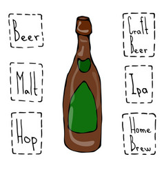 Craft beer bottle doodle style sketch hand drawn vector