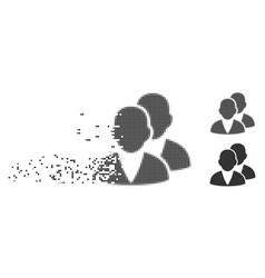 Customers disappearing pixel halftone icon vector