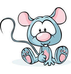 Cute grey mouse sitting isolated on white vector