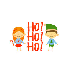 cute little girl and boy dressed in holiday vector image