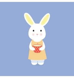 Cute rabbit with cup vector image
