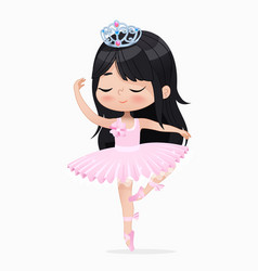 Cute small princess girl ballerina dance isolated vector
