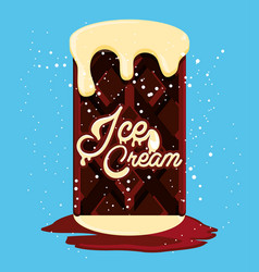 Delicious brownie with ice cream vector