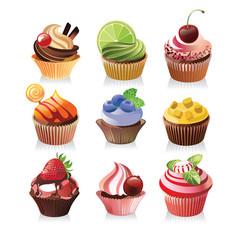 Delicious yummy cupcakes vector
