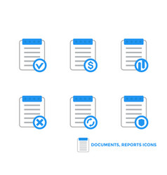Documents reports icons on white vector