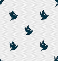 Dove icon sign Seamless pattern with geometric vector image