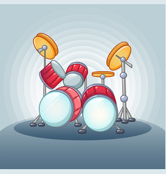 drums set concept background cartoon style vector image