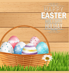 Easter colorful eggs in basket vector