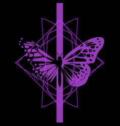 Elegant black and purple butterfly vector