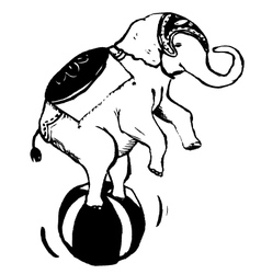 Elephant playing ball vector