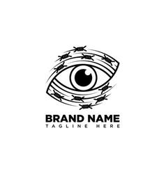 Eye logo with razor wire elements vector