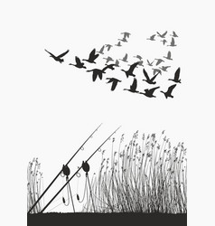 fishing rod on the shore of the lake and geese vector image