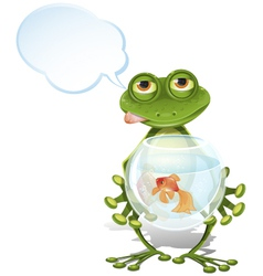 frog and a goldfish vector image