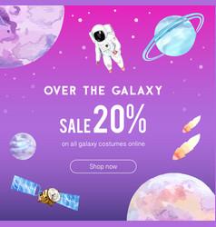 Galaxy social media design with astronaut vector