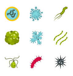 Germs icons set flat style vector