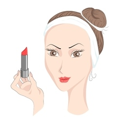 Girl with make up lipstik vector image