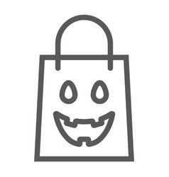 halloween shopping bag line icon package vector image