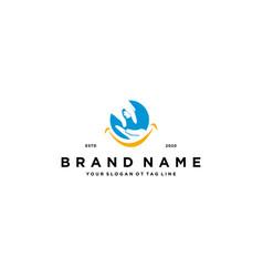 Hand giving logo design vector