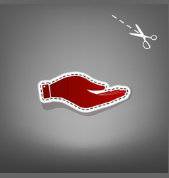 hand sign red icon with for vector image