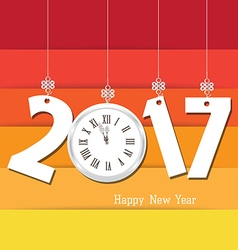 Happy new year 2017 clock Seasons Greetings vector image