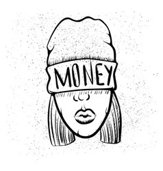 hip hop music girl pretty young urban rap girl vector image