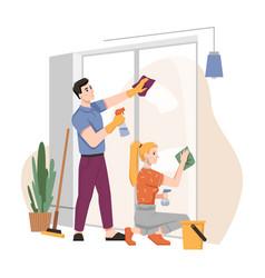 housework household couple washing window together vector image