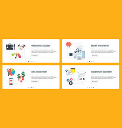 internet banner set with investment success and vector image