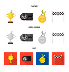 isolated object of car and rally symbol set of vector image