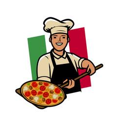 Italian pizza logo or label happy cook vector
