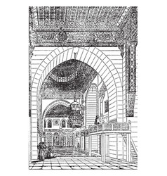 Kaid bey mosque art vintage engraving vector
