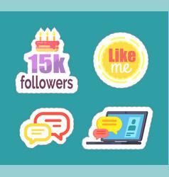 like me and 15k followers cake icons set vector image