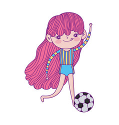 Little girl playing with footbal ball cartoon vector
