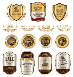 luxury golden badges and labels collection 6 vector image