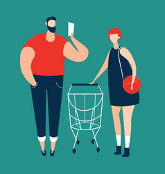 man checking shopping list and women carrying vector image