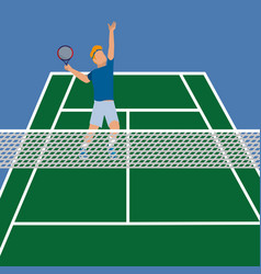 Man in the tennis court play with racket vector
