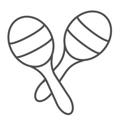 maracas thin line icon music and mexican vector image