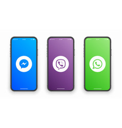 Messenger viber whatsapp logo on iphone screen vector