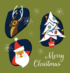 mid century modern christmas badges and elements vector image