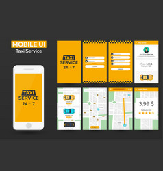Mobile app taxi service material design ui ux vector