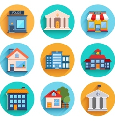 Modern flat buildings set vector image