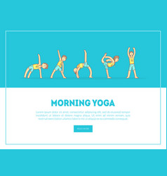 morning yoga banner landing page template boy vector image