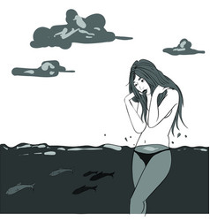 nude girl in the water sketch storyboard vector image