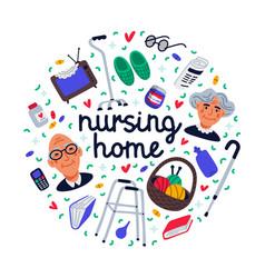 Nursing home set senior people and nursing home vector